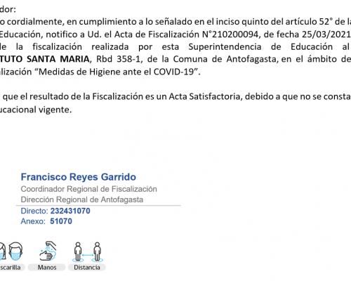 """FISCALIZACIÓN SATIFACTORIA """"Medidas de Higiene ante el COVID-19"""""""